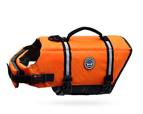 VIVAGLORY Schwimmweste für Kleine Hunde Ripstop & Reflektierende, Größenverstellbar mit Starkem Auftrieb und Rettungsgriff zum Schwimmen, Bootfahren und Kanufahren, Neon-Orange, Größe S