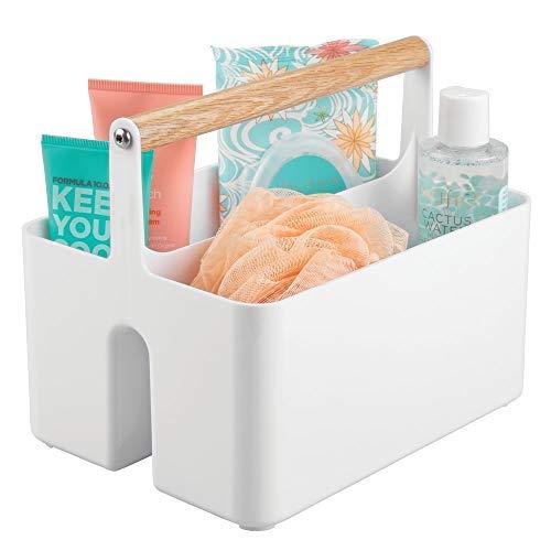 mDesign Badezimmer Aufbewahrungsbox – Korb mit Griff zur Kosmetikaufbewahrung – Bad Organizer mit zwei Fächern – weiß/eichenfarben