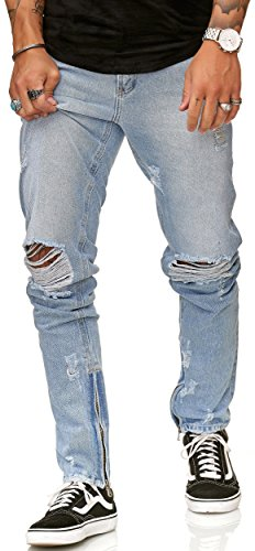 FiveSix Herren Jeans Slim Fit Denim Destroyed Zerrissen Blau EU 30