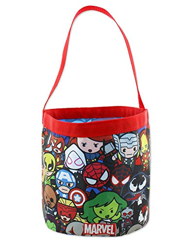Marvel Kawaii Avengers Boys Collapsible Nylon Gift Basket Bucket Toy Storage Tote Bag (One Size, Red/Black)