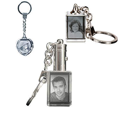 MyPrezzie Schlüsselanhänger mit Glasfoto - Fotogeschenk aus Glas mit Dein Foto (Mit Licht (weiß))