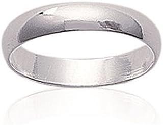 Anello nuziale unisex, in argento 925/000, larghezza 4 mm