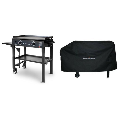Blackstone 28 inch Outdoor Flat Top Gas Grill Griddle Station - 2-burner - Propane Fueled - Restaurant Grade - Professional Quality with Cover