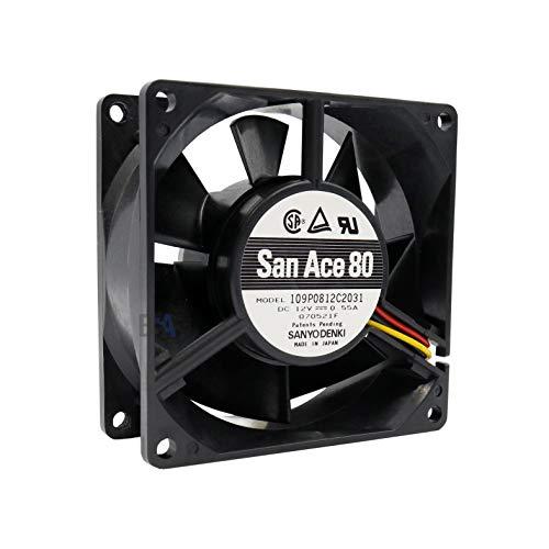 SANYO DENKI Lüfter 80 mm 80 x 80 x 32 109P0812C2031 12 V DC 0,55 A 6,6 W Air Fan 80 mm 8 cm 3 Drähte (+/-/Sensor) Kühlung