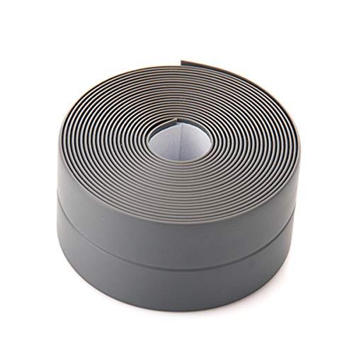 SOONHUA Caulk Strip PVC Flexible Self Adhesive Tape Waterproof Sealing Tape 3.2m22mm Bumper Strip for Kitchen,Bathroom,Bathtub,Toilet,Wall Floor(Grey)