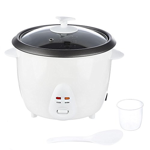 Melko Reiskocher, Gemüsegarer aus Metall, Aluminium, schonende Zubereitung von allen Reisarten, 700 Watt, 1,8 Liter, weiß mit Zubehör