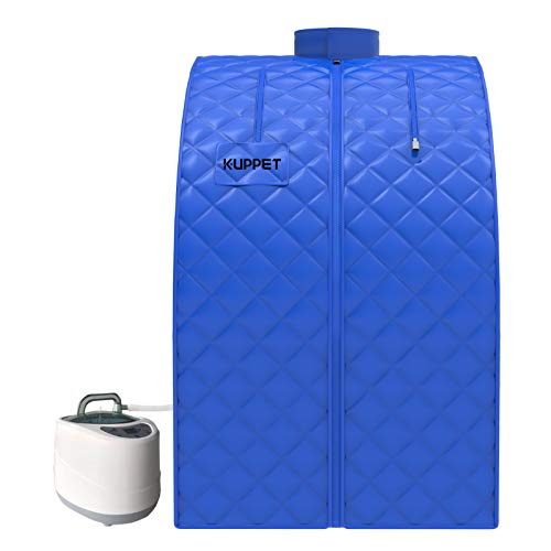 KUPPET 2020's Newest Portable Folding Steam Sauna-2L One Person Home Sauna Spa for Full Body Slimming Loss Weight w/Chair, Remote Control, Steam Pot, Foot Rest, Mat (Blue)…