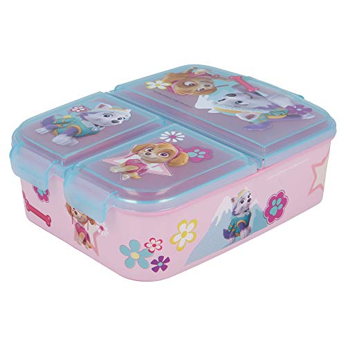 Stor PAW Patrol Girl | Brotdose mit 3 Fächern für Kinder - Kids Sandwich Box - Lunchbox - Brotbox BPA frei
