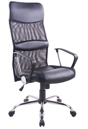 Yale Silla giratoria para estudio despacho o escritorio con ruedas, ideal para teletrabajo.Silla de oficina giratoria con gas cromada mecanismo basculante y tela negra