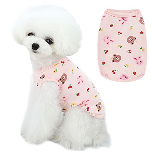 PETPUBGNZS Cute Dog Vest Shirt Soft Breathable Cotton Cat T-Shirt Puppy Pajamas Pet Tee Shirts for Small Medium Dogs Cats Clothes Yorkies Chihuahua Shih Tzu Outfits Apparel (Pink,Small)