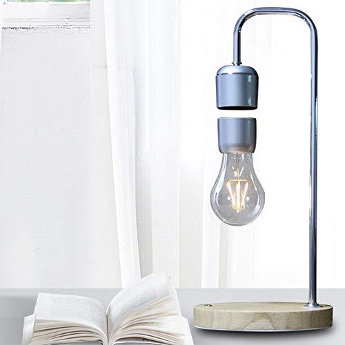 Kaper Go Lámpara de mesa de suspensión creativa de color plateado con interruptor de luz táctil de luz nocturna magnética, iluminación de inducción, regalo de lectura nocturna, 16 x 37 cm