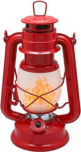 Raelf Lámpara de queroseno con llama de simulación, linterna antigua, lámpara de ambiente portátil para exteriores, tipo de batería, efecto de llama, 17 LED, estilo vintage (color: rojo)