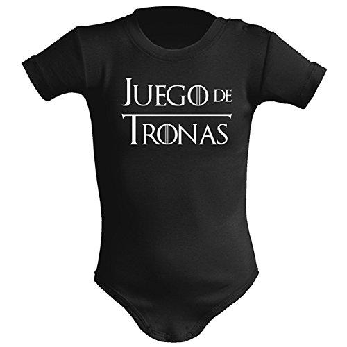 ClickInk Body bebé unisex Juego de tronas (Juego de tronos - parodia). Regalo original. Body bebé divertido. (9 meses, negro)
