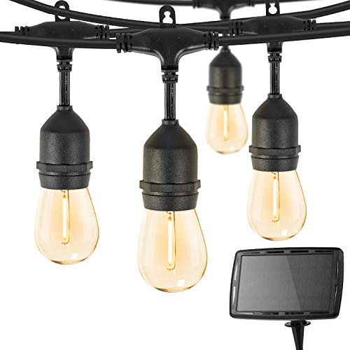 Outdoor Solar String Lights 34 Ft Vintage S14 Hanging Patio Lights with 15 Shatterproof Dimmable LED Bulbs, Auto on/Off for Outdoor Bistro Cafe Garden Backyard Balcony Porch Gazebo Decor, Black