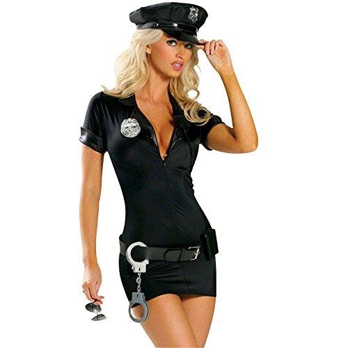 DISCOBALL Damen Polizeikostüm Frauen Sexy Polizistin Uniform mit Kleid, Kappe, Abzeichen, Gürtel, Handschellen Schwarz für Halloween Cosplay Party (Größe: 2XL)