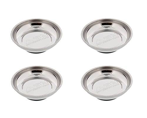 ABN Magnetic Tray for Mechanics 4pk, Magnetic Parts Tray Magnetic Bowl - Magnetic Tool Holder - 4.2 Inch Round 4-Pack