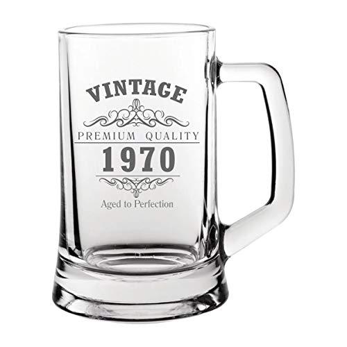 Bierkrug aus Glas im Vintage-Stil 1970, 50. Geburtstag