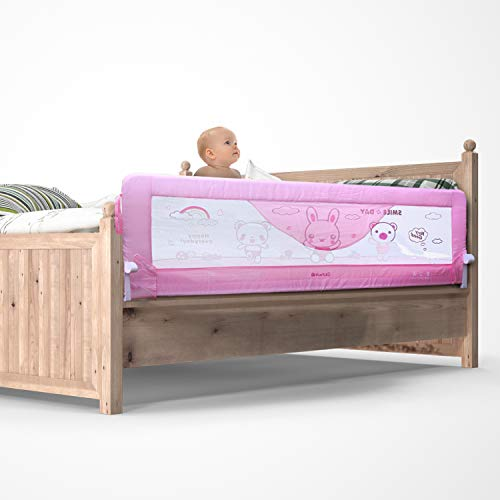 Kurtzy Foldable Bed Rail Baby Falling Safety Guard Barrier (Pack of 1 - Pink)