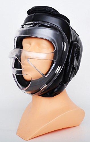 M.A.R International Ltd. Transparente Maske Kopfschutz für Kickboxen Thaiboxen MMA Muay Thai Taekwondo Karate Judo Training schwarz Senior