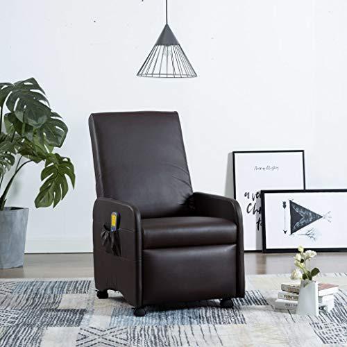 UnfadeMemory Elektrischer Massagesessel Kunstleder Massage Armsessel Relaxsessel Fernsehsessel mit Wärmefunktion im Taillenbereich Liegefunktion 8-Punkte-Massage 65 x 83 x 101 cm (Braun)