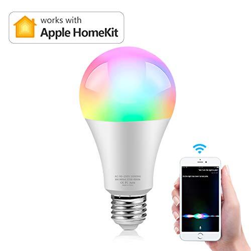 Smart Homekit Wlan LED Glühbirne, AIMENGTE E27 Smart Wifi Lampe Birne 8W Kompatibel mit APPLE Homekit & Siri Sprachsteuerung, Color-Changing, Timer Funktion, Fernsteurung, Dimmbare Licht