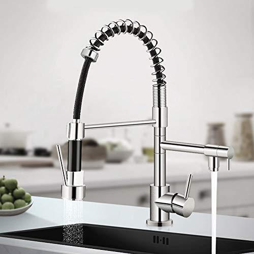 DSJSP Grifo de latón con rotación de 360 grados de grifo de agua caliente y fría para fregadero de cocina Color cromado (Plata)