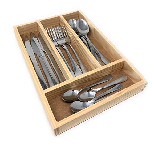 Space Home - Besteckkasten aus Holz - Besteckfach - Schubladeneinsatz für Küchenschränke - Besteckeinsatz - 32 x 22 x 3,5 cm