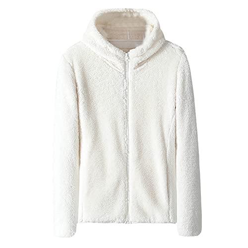 Sudadera con capucha con cremallera para mujer de doble cara de forro polar coral color slido manga larga cremallera chaqueta Outwear Wancooy, blanco, 3XL