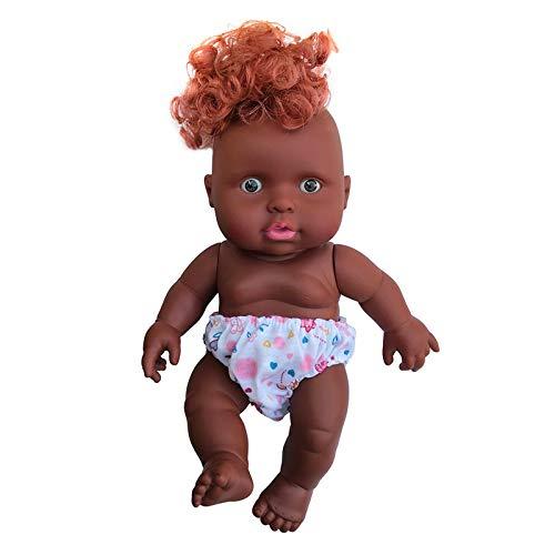 Blssom Schwarzes Puppenspielzeug,Weiche Babypuppe Künstliche Neugeborene Babypuppen,Vinyl Lebensechte Ganzkörper Reborn Puppe Interaktive Spiele Spielzeug für Kleinkind Jungen Mädchen