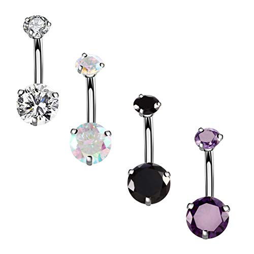 YHMM 14G Surgical Steel Belly Button Rings Round Cubic Zirconia Navel Barbell Stud Body Piercing (4 Pcs Clear+Colorful+Black+Purple)