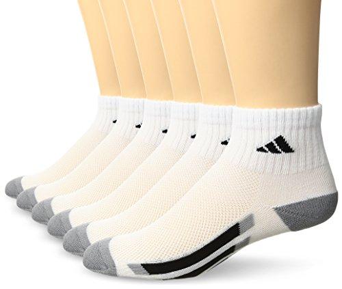 adidas Youth Kids-Boy's/Girl's Cushioned Quarter Socks (6-Pair), White/ Black/ Light Onix, Medium