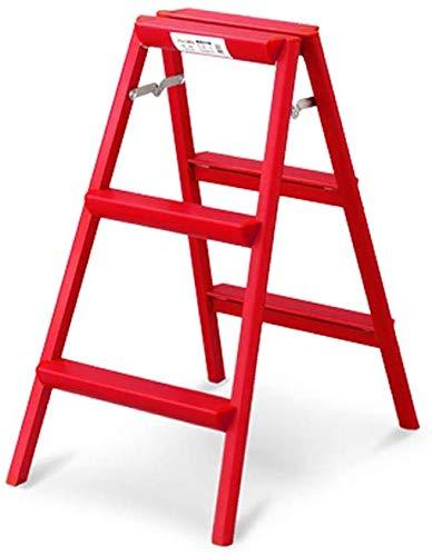 TZ La scala di alluminio, scala di alluminio spessa piegante della famiglia scala del pedale della scala di 2/3 può essere usata per la fotografia/pittura/cucina,Scala rossa 3 step