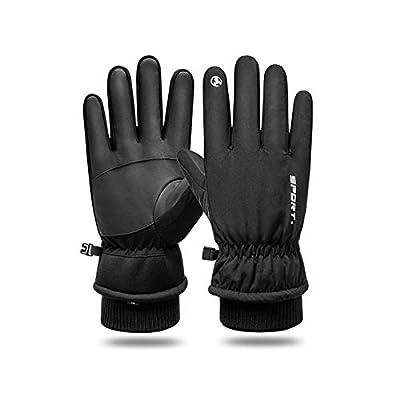 -30? Winter ski nitrile Gloves velvet men and women para running Mountaineering copper subzero Touchscreen Gloves Thermal Gloves for Running (Black,Medium)