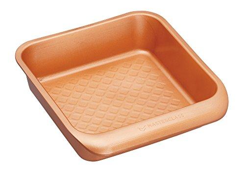 Kitchencraft Masterclass Smart apilables cuadrado para tartas para horno (superficie antiadherente, 24x 22cm (9,5'x 8.5') acabado, cerámica, cobre, 22,5x 24x 6cm