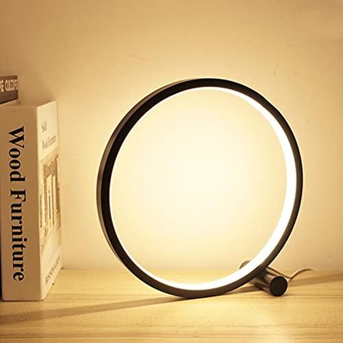 Delaspe Lámpara de mesa de 25 cm regulable redonda decorativa luz nocturna sensible al tacto para despacho, mesita de noche, salón