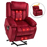 Mecor Power Lift Recliner Lift Chair for Elderly with Adjustable Headrest Massage Recliner Chair with Heating System for Living Room (Red)