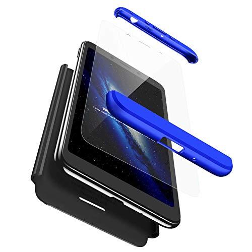 TXLING Schutzhülle für Xiaomi Redmi 6A, R&um-Schutzhülle, aus Polycarbonat, Hartschale, stoßfest, matt, 3-in-1-Schutzhülle (blau/schwarz) + 1 x Bildschirmschutzfolie aus Hartglas