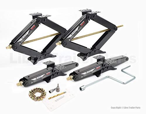LIBRA Set of 4 True 7500 lb Heavy Duty 24  RV Trailer Stabilizer Leveling Scissor Jacks w Dual Power Drill Sockets & Complete Set of Mounting Hardware -Model# 26060