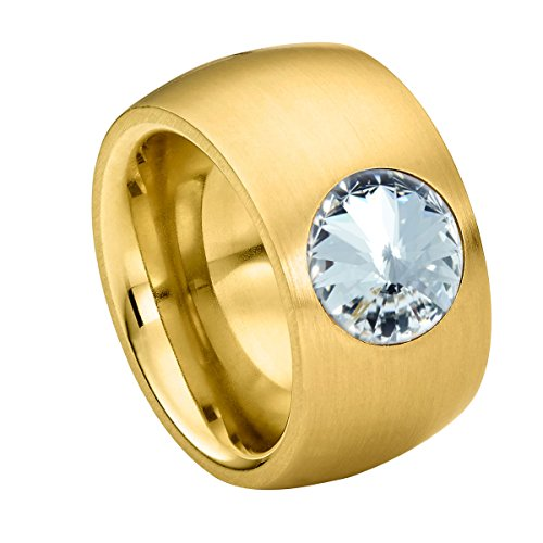 Heideman anillos mujer de acero inoxidable color oro mate anillo mujer con piedra blanco