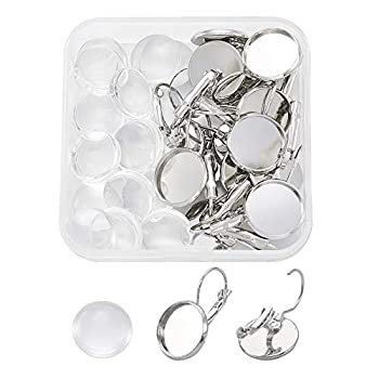 Fashewelry 10Pcs 20mm Lever Back Blank Bezel Earring Base French Hook Cabochon Earring Settings with 10Pcs Transparent Clear Dome Glass Cabochons for Jewelry Making