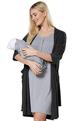 Chelsea Clark 3-teiliges Nachtwäscheset für Frauen bei Mutterschaftsarbeit: Hemd Robe Decke (Grey Melange-Graphite Melange, 2XL)