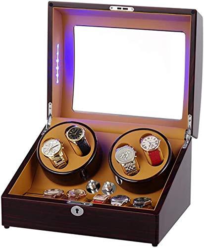 Ronglibai Caja Relojes automaticos Watch Winder con la Cubierta y Almacenamiento, Reloj de Cuerda automática for 4 Relojes con Quiet Mabuchi Motor Construido en lámparas LED