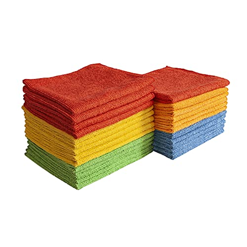 Eurow Microfiber Cleaning Cloths for Home, Kitchen, and Auto Detailing, 11.5 by 11.5 Inches, 5 Colors, 25 Pack