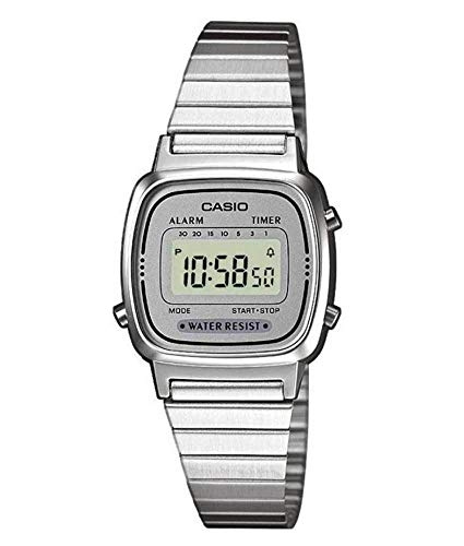 Casio Collection - Damen-Armbanduhr mit Digital-Display und Edelstahlarmband - LA670WEA-7EF