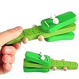 Kuizhiren1 juguete musical, diseño de cocodrilo de madera de castañuela de dibujos animados instrumento musical infantil juguete preescolar