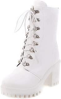 ELEEMEE Women Fashion Block Heel Platform Boots Lace Up Short Boots
