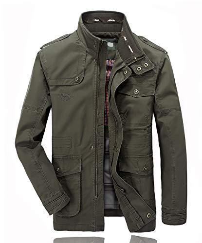 Hombres chaqueta Primavera otoño e invierno Algodón Militar Chaqueta (X-Large=Tag 3XL /Ches 124cm, Ejercito Verde)