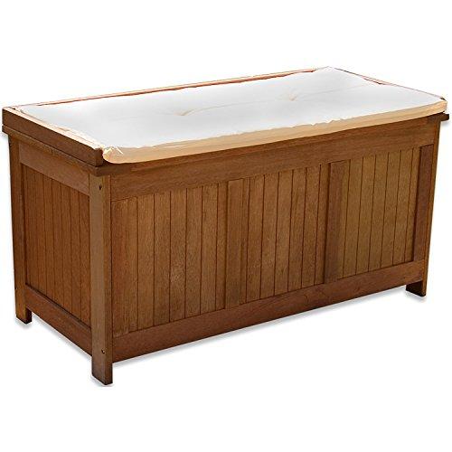 STILISTA® Gartenbank Gartenbox 219 L aus 100% Shorea-Hartholz, geölt, Liftautomatik, Gartentruhe inkl. Kissen in Farbe Natur, 113 x 52,5 x 60,5 cm, Auflagentruhe, Kissenbox