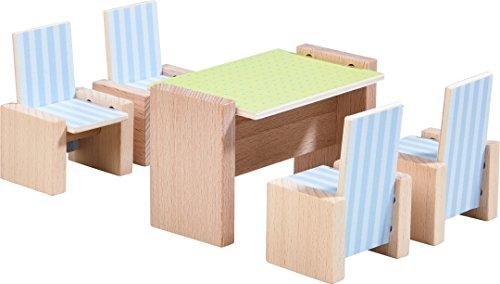 HABA 303839 - Little Friends – Puppenhaus-Möbel Esszimmer | Mit Tisch und 4 Stühlen | Passend für alle Little Friends-Puppenhäuser