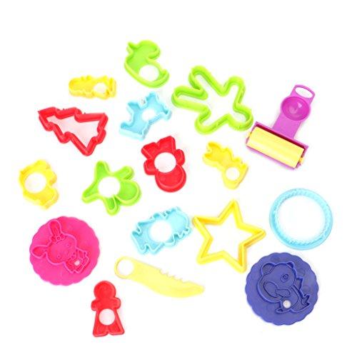 DROHOO, 18X Cortadores de Masa de Arcilla de plastilina plástica Mixta Moldes Herramientas de Modelado para niños